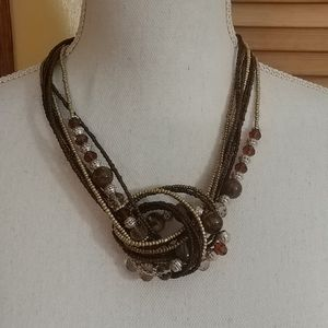 NWT MIXIT Brown Beaded Statement Necklace Set